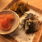 鮨竜 - つまみ盛(たらこ、にしん飯寿司、松前漬け)