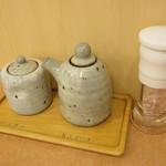 とんかつ和泉 - 卓上のソースと塩