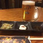 ちぬまん - 乾杯のビールとお通し