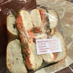 50709288 - サーモンとクリームチーズのサンドイッチ