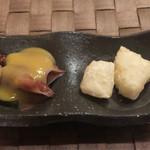 鮨席 初瀬 - 料理写真:付き出し  蛍イカ、長芋唐揚げ