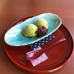 わた屋 - 料理写真:抹茶アイスクリームあんこ添え400。