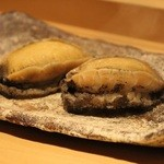 鯛良 - ■酒蒸し:蝦夷あわびの酒蒸し(肝ソース添え)