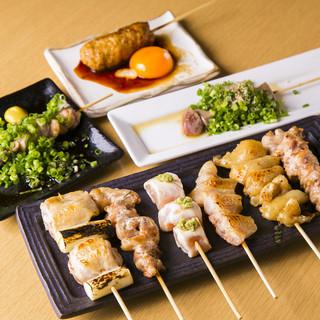 鶏、魚、野菜の炭焼き!