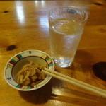 むぎきり - 久保田(記念酒)1合850円+アテの切り干し大根