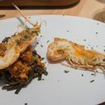 トラットリア フラテッリ ガッルーラ - 「イカ墨を練りこんだシャラテッリ」手長海老と三河産魚介のトマトソースの全景
