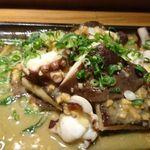 50762868 - 豊後だこと特大大椎茸の鶏味噌バター炒め。