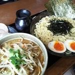 50764268 - (2016/5 訪問)特製つけ麺1050円+野菜トッピング150円。スープは塩を選択。