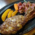 50769496 - びらとり和牛カットステーキ&びらとり和牛ハンバーグ(サラダ、ライス、漬け物、味噌汁付き)1950円