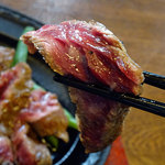 50769500 - びらとり和牛カットステーキ&びらとり和牛ハンバーグ(サラダ、ライス、漬け物、味噌汁付き)1950円