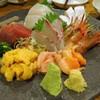 Kazusayashinkichi - 料理写真:刺し盛り:シマエビ、生うに、赤貝、ひらまさ、鰹、さざなみ鯛、しまあじ