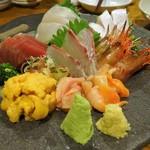 上総屋 眞吉 - 刺し盛り:シマエビ、生うに、赤貝、ひらまさ、鰹、さざなみ鯛、しまあじ