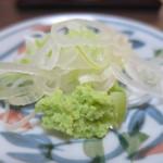 湯蕎庵たかはし - 刻みねぎと生山葵アップ