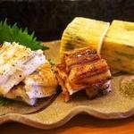 福寿司 - 穴子白焼き&タレ焼き、玉子アテ