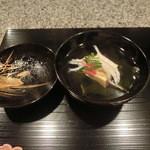 菅井 - 2016/4 卵豆腐 白魚 お椀