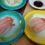 すしや まるいし - 甘エビ 260円 赤海老 300円 佐渡島では甘エビを南蛮海老って呼んでるみたいなんだけど驚くほど甘い。 まったりとして味が濃い。