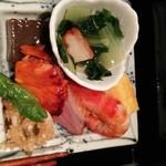 無門庵 - 赤魚、海老、鴨ロースの焼き物、細海老とシシトウの揚げ物、野菜の煮物