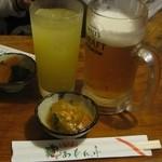 あだん亭 - モルツ生530円、シークワーサーサワー550円