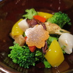 和み茶屋 - 酢の物:蛍烏賊、ホタテ、わさび菜、油揚、パプリカ、人参