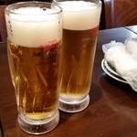 やきとり だるま - やきとり だるま 乾杯ビール。