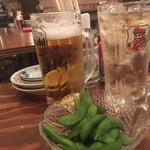 久茂地の穴 - 生ビール290円とジンジャーエール198円&お通しの枝豆