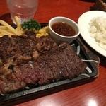 ビヤレストラン 銀座ライオン - プライムビーフステーキ 1380円税込+ご飯大盛り無料