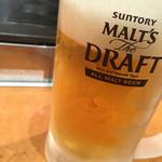 50935439 - キンキンに冷えたグラスの生ビール中450円