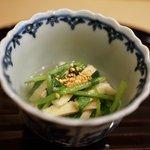 新ばし 笹田 - 壬生菜と油揚げの温かいおひたし