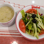 イスタンブール - サラダ、レンズ豆と鶏肉のスープ