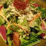 地鶏個室居酒屋 阿波尾鶏 - 蒸し鶏のバンバンジーサラダ(税抜き4000円コース)