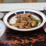 福助食堂 - ピーマンと茄子の肉味噌炒め