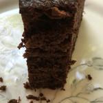 珈琲まめ坊 - チョコレートケーキのアップ