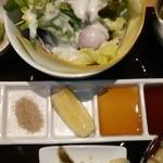 串揚げ 桂 - [料理] 串揚げ用調味料 (山葵‣天然塩‣檸檬・ポン酢醤油‣味噌ダレ) アップ♪w