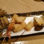 串揚げ 桂 - [料理]『ミニ和牛カツと串揚げ五本』盛り合わせ 全景♪w