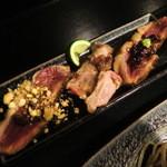 鴨蕎麦 尖 - 鴨肉ロースト3種。