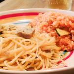 アルモニーア - 本日のリゾット&パスタ「合挽き肉とタイムのフェデリーニ&ツナとズッキーニのトマトリゾット」