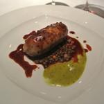 ラ・トルテュ - 豚足、豚舌、ミミガーのソーセージ レンズ豆のブレゼ、マスタードソース