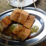 やき鳥 金富士 - 揚げ焼き~辛子醤油でお食べ下さい