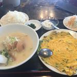 広盛園 - 日替りニラ玉定食600円 ご飯中盛