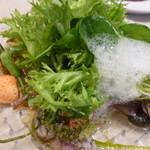 ナユタカ - カルパッチョサラダ仕立て泡はジンジャーソース