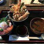 高半 - 「海鮮丼(小)と天丼(小)のセット」1400円