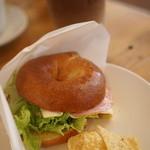 Wool Cafe - 料理写真:ベーグルモーニング500円 豆乳ラテ付き