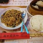 51124584 - (醤油味)中国干し豆腐と中国高菜の炒め・ご飯・黄磨餃子(椎茸の具入り)