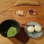 51127193 - 粟生と抹茶、粟生の材料たち