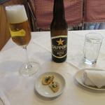レストラン イデオ - 瓶ビール・アミューズ「利尻若布のカナッペ」