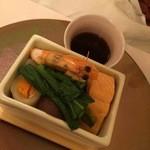 清泉寮新館レストラン - 和食・清里産虹鱒と天使の海老の野菜蒸篭蒸し