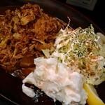 カレーは飲み物。 - 黒いカレー¥890 with フライドオニオン、ポテトサラダ、らっきょう