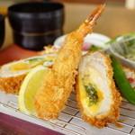 とんかつKYK - 梅チーズと海老フライ膳 (¥1,480)