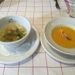 ル・プラ・プリュ - 新人参のクリームスープと春野菜とあさりのスープ