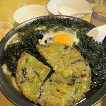 牧のうどん - 大盛ワカメうどん、玉子、緑の天ぷら